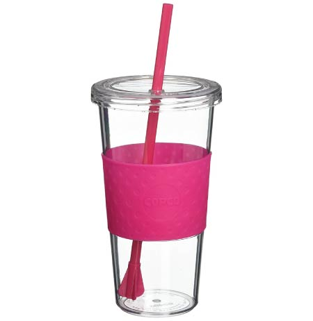 magenta tumbler with straw. minimalist back to school supplies for highschool girls.