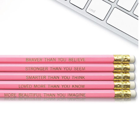 Winnie the Pooh inspirational quote pencil set - Cute Back to School Supplies for Teen Girls