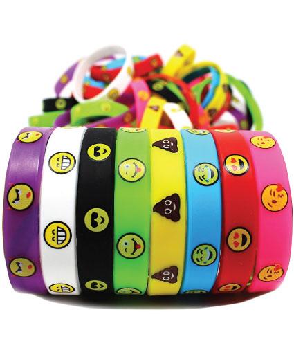 20 Emoji Back to School Supplies. Colorful emoji wristbands.