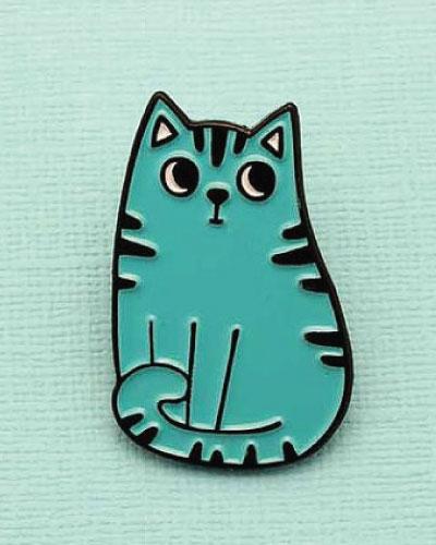 Blue stripy cat lapel pin