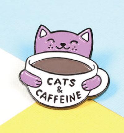 Cats and caffeine cat enamel lapel pin