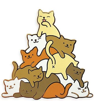 Cat meowtain enamel lapel pin