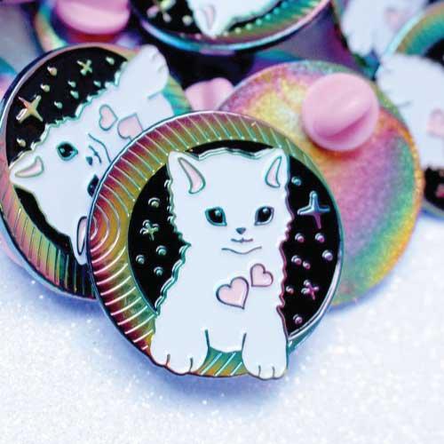 cosmic rainbow cat enamel lapel pin