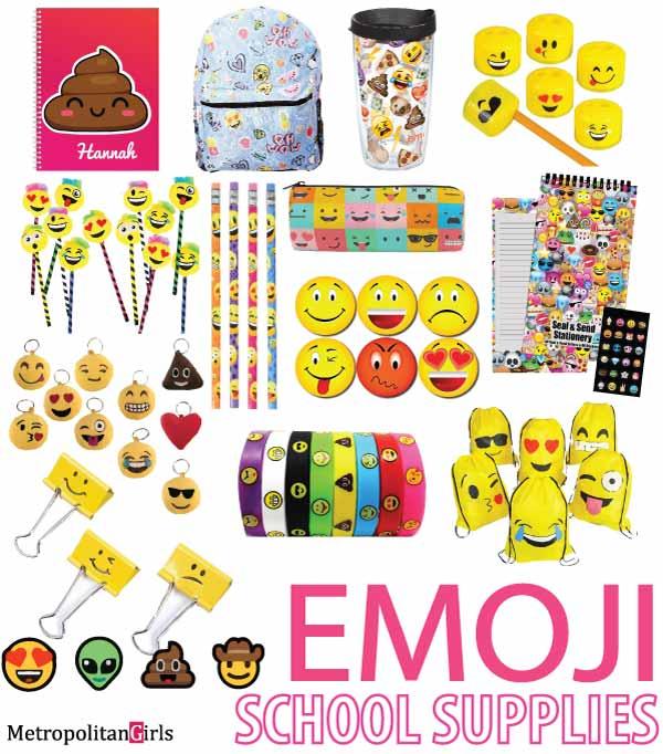 Emoji school supplies