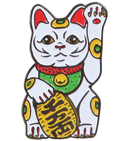 Japanese lucky cat lapel pin