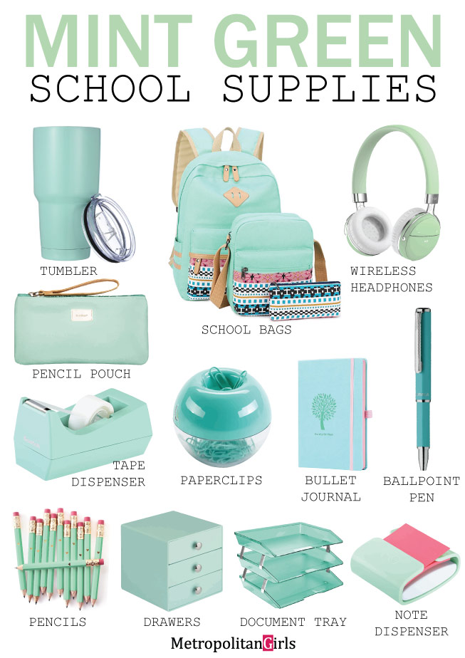 Cute mint green back to school supplies