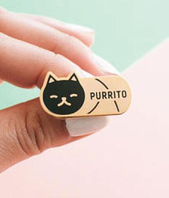 Purrito black cat lapel pin
