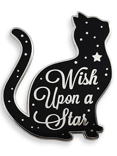 Wish upon a star cat lapel pin