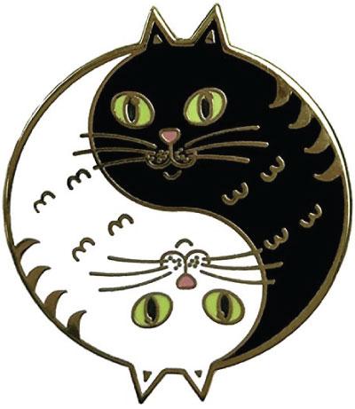 Yin and yang cat lapel pin