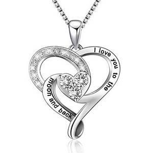 Love you to the moon and back heart necklace