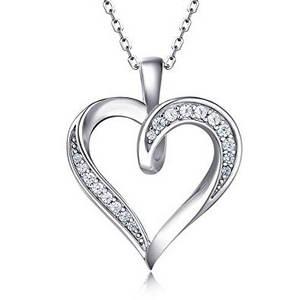 Platinum heart pendant necklace