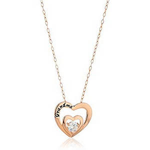 rose gold double hearts necklace - grandma