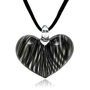 black heart necklace - glass