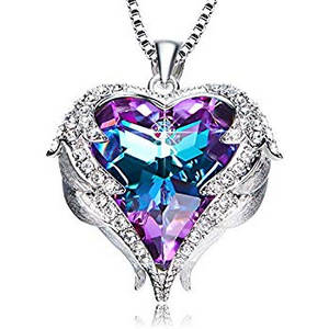 Purple and blue crystal heart pendant necklace
