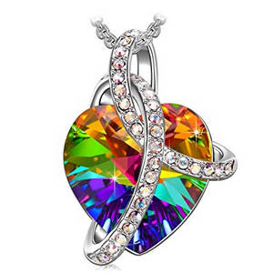 colorful crystal heart necklace