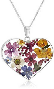 Handmade floral heart necklace