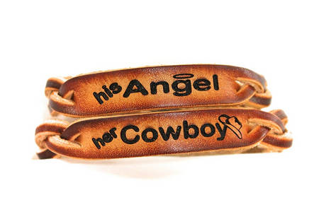 angel and cowboy braided leather bracelets