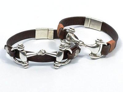 horse bit equestrian couple bracelets