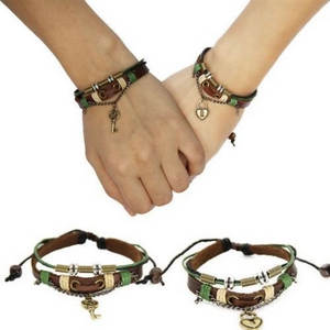 key and lock leather bracelets
