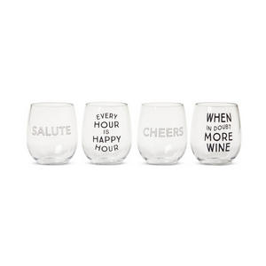 Every hour is happy hour. When in doubt more wine. Cheers. Salute. Set of 4 funny stemless wine glass | #wine #winelover #wineglasses