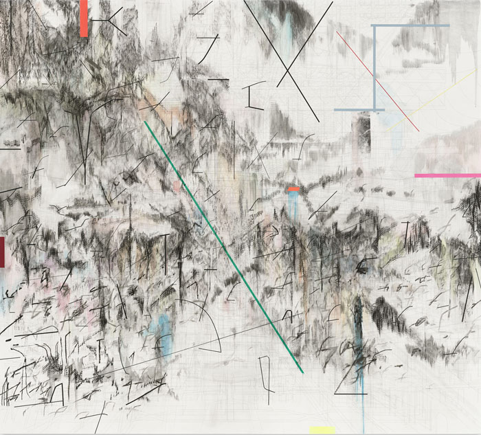 Co-Evolution of the Futurhyth Machine (after Kodwo Eshun), 2013, by Julie Mehretu