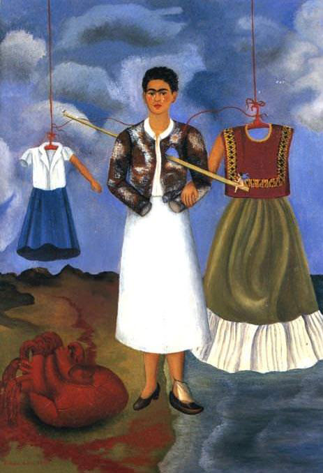 memory, the heart by frida kahlo. famous female contemporary painter