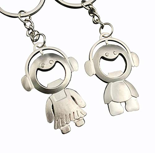 Matching Bottle Opener Couple Keychains Keyrings