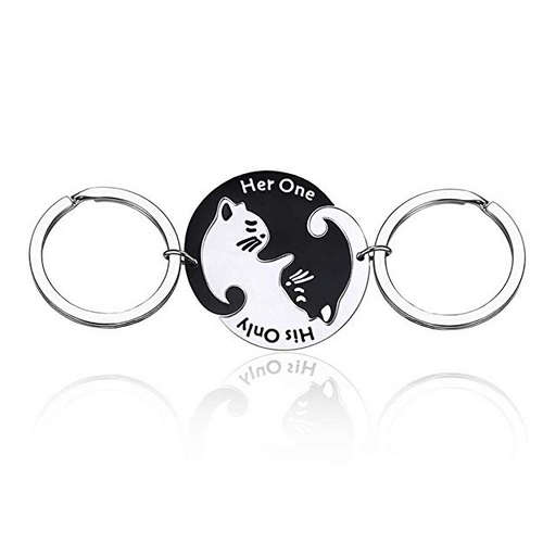 Couples Yin and Yang Black Cat White Cat Keychain Matched