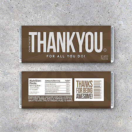Employee Appreciation Gifts: Candy Bar Thank-You Note