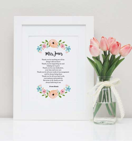Sentimental Personalized Teacher Poem | End-of-Year-Ideas-Gifts-For-Teachers