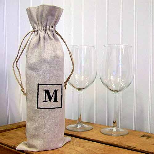 Personalized Monogram Wine Bag