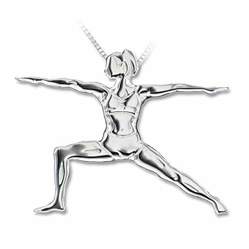 Warrior II Yoga Pose Pendant Necklace | Gifts for Aries