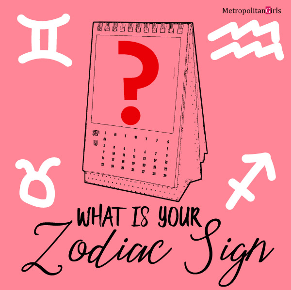 Feature image for this article. It says what is your zodiac sign at the bottom. Above the text is a standing calendar with a question mark on it. Surrounding the calendar are symbols for several zodiac signs.