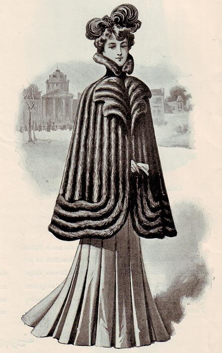 Woman in fur cape