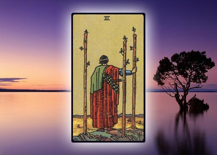 Aries Tarot Card Three of Wands