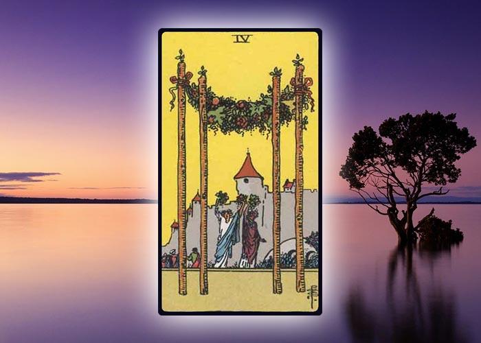 Four of Wands Aries Tarot Card